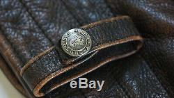Harley Davidson Men's Brown Distressed Leather Vintage Jacket D-Pocket 2XL Rare