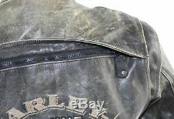 Harley Davidson Men's Brown Distressed Leather Vintage Jacket L