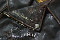 Harley Davidson Men's Brown Distressed Leather Vintage Riding Jacket D-Pocket XL