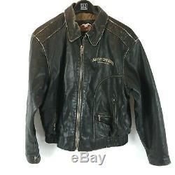 Harley Davidson Men's Size XXL Distressed Leather Jacket Coat Black Brown 2XL