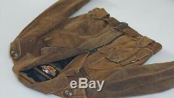 Harley Davidson Men's V-Twin D-Pocket USA MADE Distressed Brown Leather Jacket M