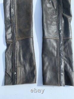 Harley Davidson Mens BILLINGS Brown Leather Chaps Distressed Medium