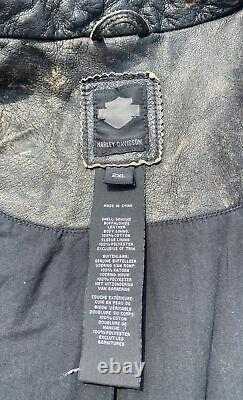 Harley Davidson Mens BLACK LABEL #1 Skull Distressed Leather Jacket 97174-17VM