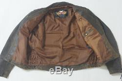 Harley Davidson Mens Billings Distressed Brown Leather Jacket Winged HD Logo XL