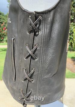 Harley-Davidson Mens LEGENDARY EAGLE Leather Vest 2XL Distressed
