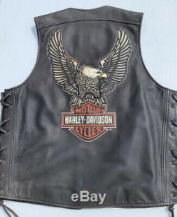 Harley-Davidson Mens LEGENDARY EAGLE Leather Vest Large Distressed