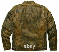 Harley Davidson Mens Miramar Distressed Brown Leather Biker Jacket XL 97128-16VM