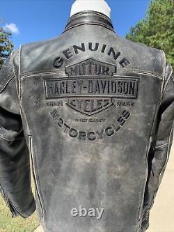 Harley Davidson Mens ROADWAY Distressed Brown Leather Jacket 98002-11VM Medium