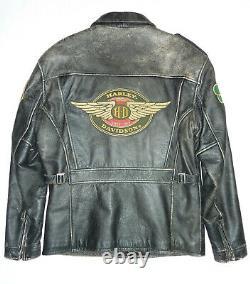 Harley Davidson Mens Vintage Distressed Leather Jacket Studs, Patches Medium