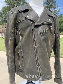 Harley Davidson ROAD DUST Brown Leather Jacket Men 3XL Distressed Billings MINT