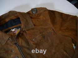 Harley Davidson V Twin D Pocket Distressed Suede Jacket Made In USA Rare Mens XL