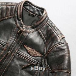 Harley Davidson Velocity Leather Jacket, Cowhide Leather Distressed Brown XS-5XL
