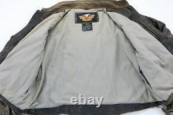 Harley davidson leather jacket vest 3XL Panhead distressed brown embossed bar