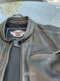Harley davidson mens leather jacket XL. Distressed dk brown. Hardly used