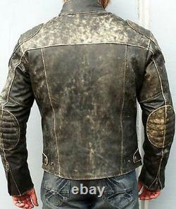 Hooligan Men Motorcycle Distressed Leather Jacket Biker Casual Fashion Vintage