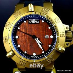 Invicta Subaqua Noma III Swiss Made Wood 50mm Distressed Gold Plated Watch New