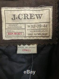 J. Crew Mens Brown Leather Racer Jacket hand distressed Size Small NEW rare NOS