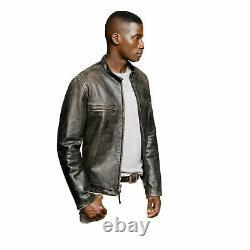 J. Crew Mens Brown Leather Stockton Racer café Jacket distressed Size L $899