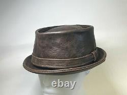 Jill Corbett pinch pork pie hat brown distressed leather UK S/M/L/XL/XXL/XXXL