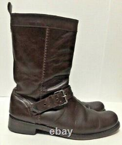 John Varvatos Motorcycle Boots Brown Leather Distressed Buckle Mens Size 11.5M