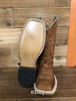 Justin Mens Square Toe Bent Rail Boots Austin Distressed Cognac, Made In USA