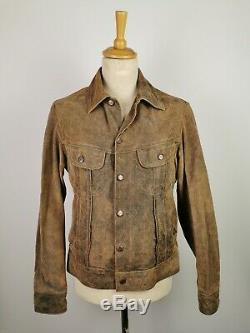 L559 Marlboro Classics Mens Brown Country Distressed Leather Jacket, Large 42