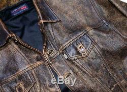 LEVI'S LEATHER JACKET mens coat XL LEVI trucker DISTRESSED VINTAGE BROWN ORANGE