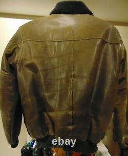 LL BEAN A-2 FLYING TIGER BROWN DISTRESSED GOATSKIN LEATHER LINED JACKET medium