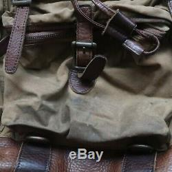 LL Bean Leather Backpack Day Pack Canvas Vtg Distressed