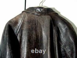 Leather Jacket Vtg Distress Brown Structure Supernatural Pea Button Sz XL /2XL