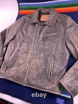 Levis Distressed Heavy Leather Jacket Size Medium Flight Car Coat Vtg Brown