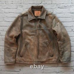 Levis Distressed Leather Jacket Size M Car Coat Vtg