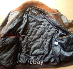 MENS AVIATOR G1 FLIGHT DISTRESSED BOMBER REAL LEATHER JACKET withFUR FREE SHIPPING