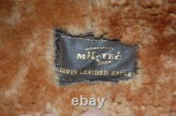 MIL-TEC RAF Shearling Sheepskin Irvin Pilot Distressed Leather Bomber Jacket 2XL