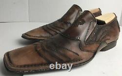 Mark Nason 67458 Rock Lives Dragon Distressed Studded Loafers Men's US 13