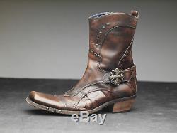 Mark Nason Rock Boots US11 Distressed Brown with spiderweb design (W)