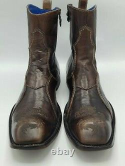 Mark Nason Rock Lives Dragon Side Zip Brown Boots Size 11 Italy Studded Cross