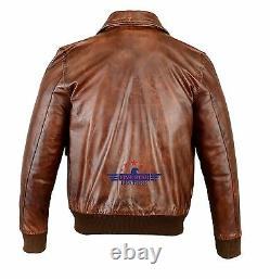 Men A-2 Real Leather Brown Aviator Pilot Field Jacket Fly Jacket Bronco Bomber