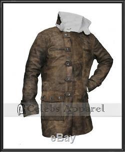 Men Distressed Leather Bane Coat The Dark Knight Rises Winter Fur Leather Jacket