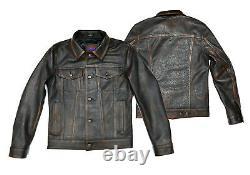 Men TRUCKER Retro Western Denim Style Real Goat Distressed Leather Jacket Brown