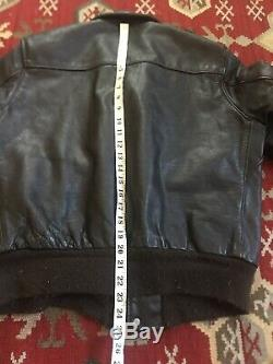 Men Vintage Distressed Schott Dark Brown Fut Lined Leather Bomber Jacket Size 42