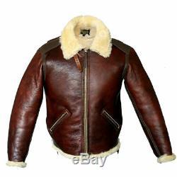 Men's B6 Bomber Real Shearling Distressed Sheepskin Flight Aviator Winter Jacket