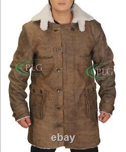 Men's BANE Dark Knight Rises Vintage Cow Hide Distressed Leather Coat/Jacket