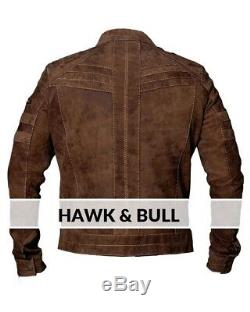 Men's Biker Brown Distressed Vintage Motorcycle Real Leather Jacket Café Racer