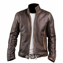 Men's Biker Cafe Racer Motorcycle Distressed Brown Vintage Leather Jacket 32OT