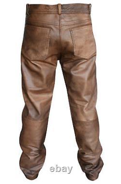 Men's Classic Vintage Brown Leather Diamond Jacket Matching Biker Pants Trousers