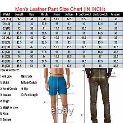 Men's Cowhide Leather Brown Vintage Distressed Wax Stylish Side Laced Biker Pant