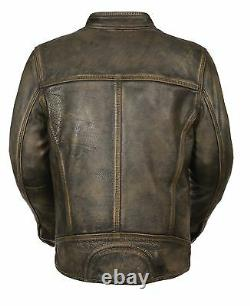 Men's Distressed Brown Vented Leather Jacket with Triple Stitch & Two Gun Pockets