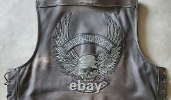 Men's Harley-Davidson DISTRESSED WILLIE G SKULL Leather Riding Vest size 2XL