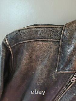 Men's Harley Davidson Leather Bomber Jacket Size Medium Vintage Distressed